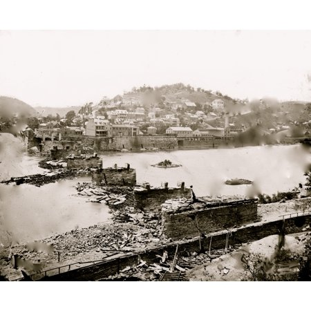 Harpers Ferry W Va View of town railroad bridge in ruins Poster (Best Mountain Towns In Va)