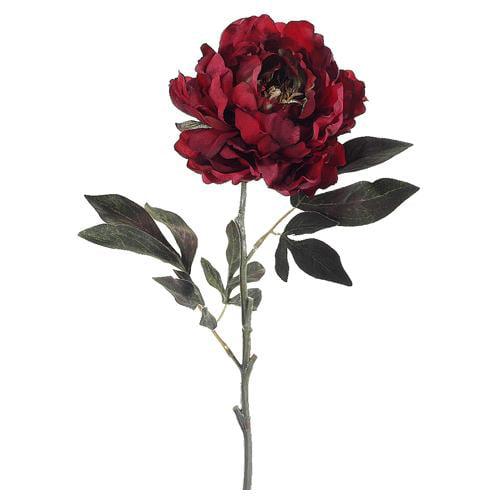 "Club Pack of 12 Artificial Burgundy Crimson Peony Silk Flower Stems 26"""
