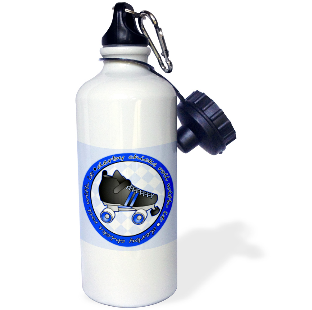 3dRose Derby Chicks Roll With It Blue with Black Roller Skate, Sports Water Bottle, 21oz by 3dRose