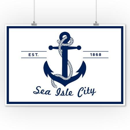 Sea Isle City, New Jersey - Blue & White Anchor - Lantern Press Artwork (9x12 Art Print, Wall Decor Travel (Anchor Print)