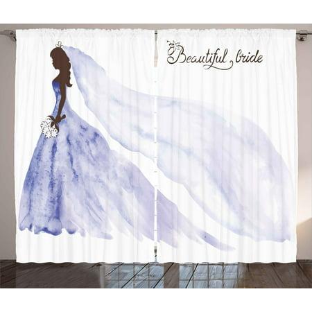Bridal Shower Curtains 2 Panels Set Abstract Beautiful Bride Wedding Dress Flowers Celebration Print