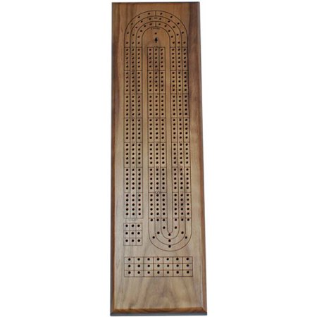 - Classic Cribbage Set, Solid Walnut Wood Continuous 3 Track Board with Metal Pegs