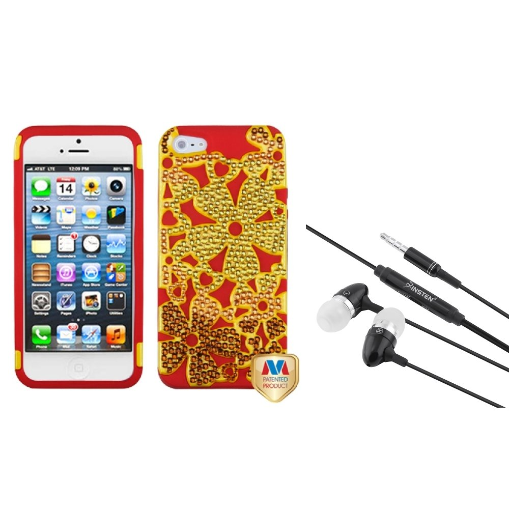 Insten Solid Pearl Yellow/Red Flowerpower Hybrid Phone Case For iPhone 5 + 3.5mm Headset
