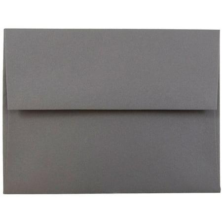 JAM A2 Envelopes, 4 3/8 x 5 3/4, Dark Gray, 1000/Carton Gray 1000 Envelopes