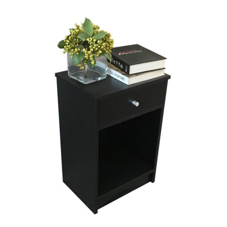 Zimtown Black Nightstand Side End Table Bedside Storage Table Stand with 1 Drawer End Shelf ()