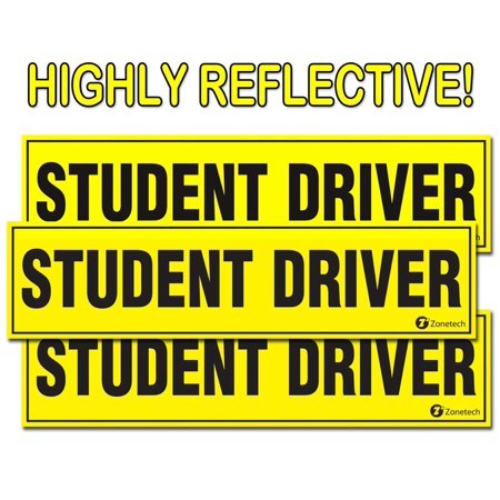 Student Driver Magnet- Zone Tech Set of 3  Reflective Vehicle Car Sign-Black Letters on a Yellow Reflective Background 12 X 3 X 0.1 - Make Your Own Car Magnet