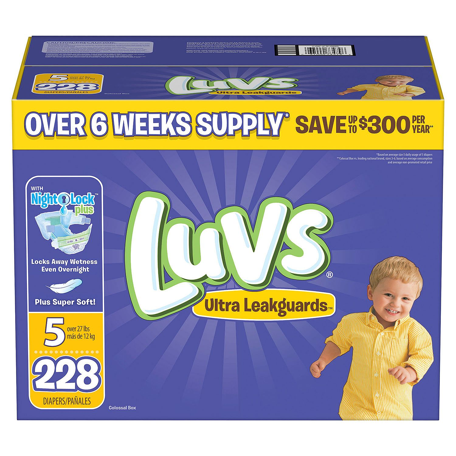 Luvs Ultra Leakguards Diapers Size Size 5 - 228 ct. - Bulk Qty, Free Shipping - Comfortable, Soft, No leaking & Good nite Diapers