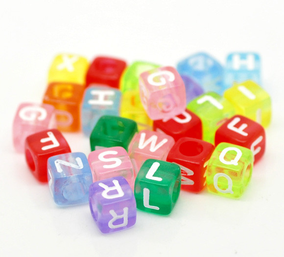 Sexy Sparkles Multi color Alphabet Letters Acrylic Cube Beads Pack of 500pcs