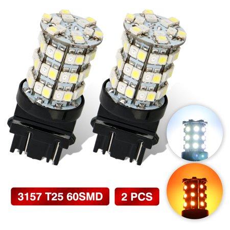 (2 Pack)EEEKit Amber White 3157 3457 3357 Switchback 60 3528 SMD LED Turn Signal Light Bulb Replacement 3000K Amber / 6000K White for Auto Vehicle Truck Van SUV ATV and