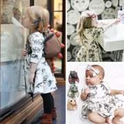 Newborn Toddler Kids Baby Girls Animal Half Sleeve Dinosaur Dress Outfits Clothes