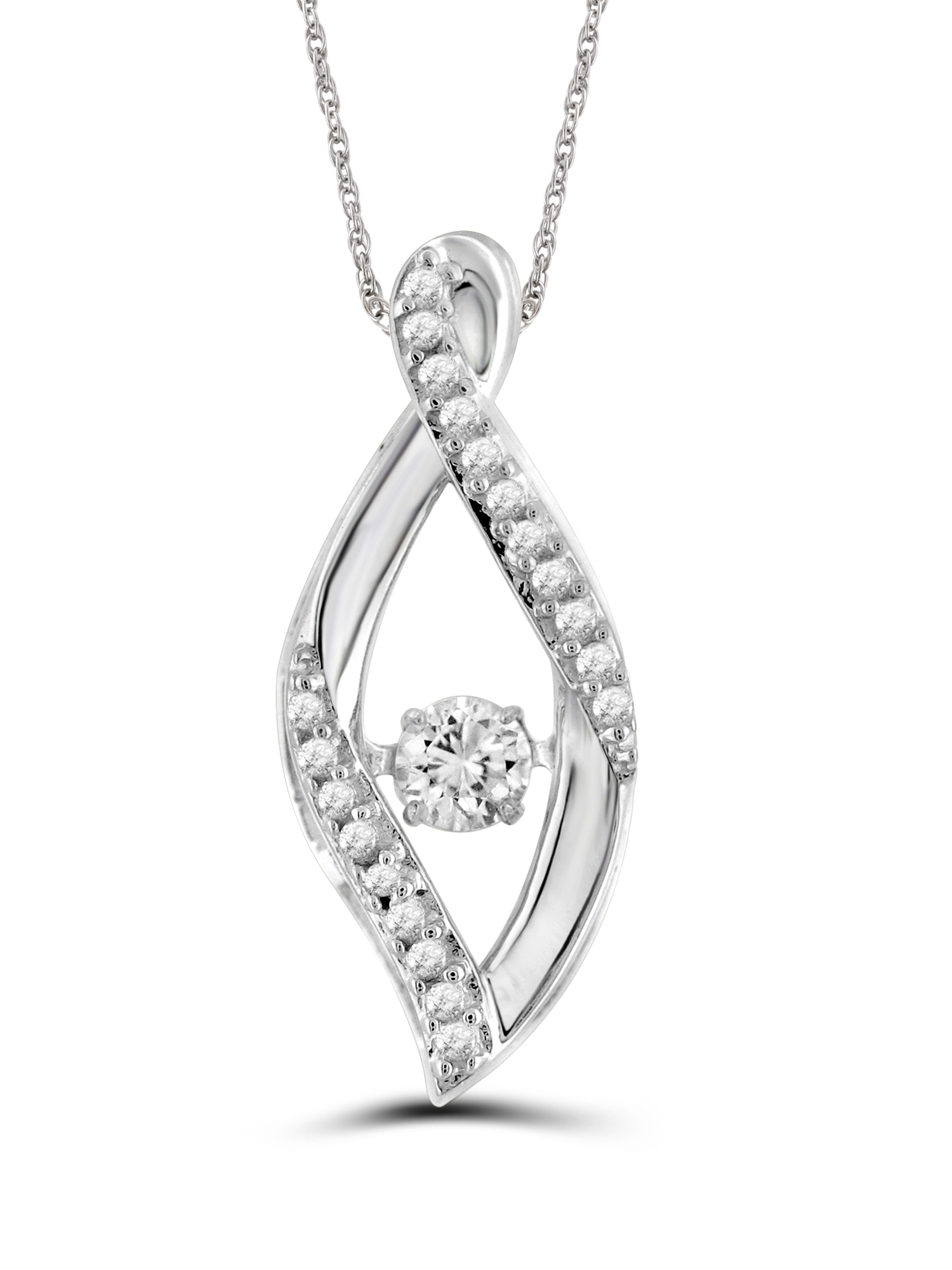 Diamonds in the Sky 1/4 Carat T.W. White Diamond 10kt White Gold Leaf Shaped Pendant