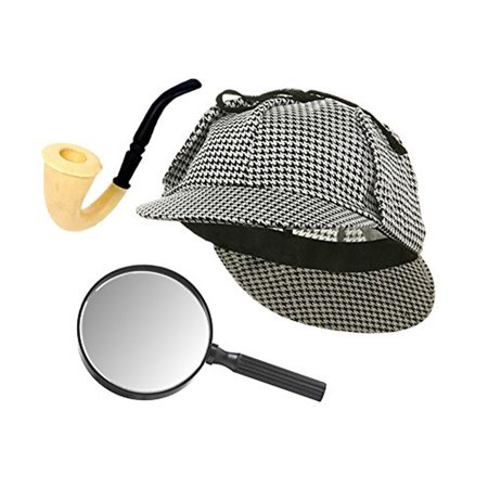 Sherlock Holmes Detective Hat, Pipe, & Magnifying Glass Costume Set
