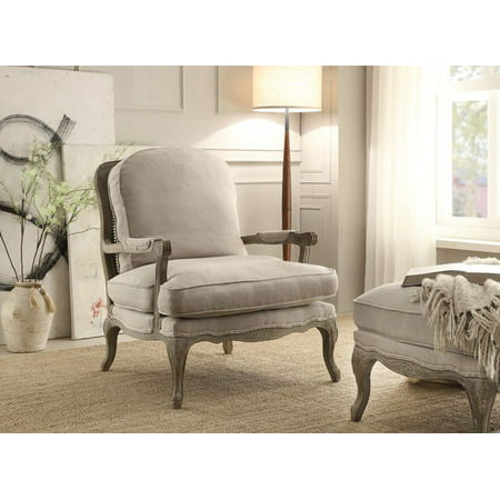 Super Homelegance Parlier Show Wood Accent Chair In Grey Weathered Natural Fabric Pabps2019 Chair Design Images Pabps2019Com