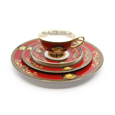 Royalty Porcelain Luxury 5-pc RED Dinner Set for 1 person, Medusa Greek -