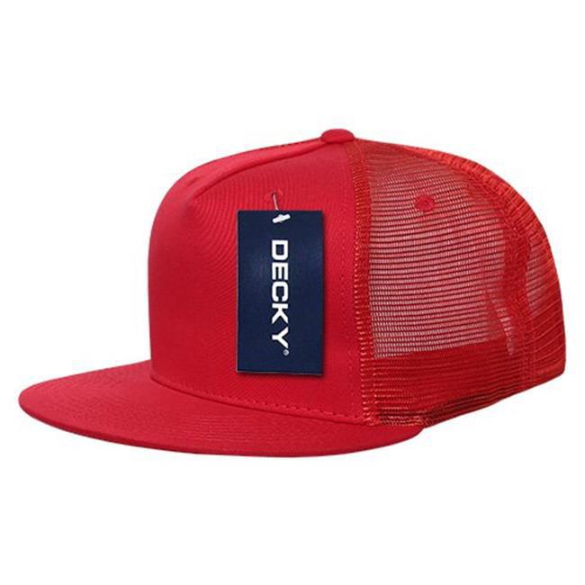 Decky Trucker Hats: RED Panel Cot Trucker Caps, Red