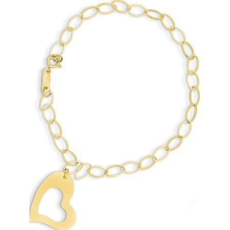 14k Yellow Gold  Dangle Heart Bracelet
