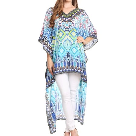 Sakkas Laisson Flowy Hi Low Caftan Rhinestone Boxy V Neck Dress Top Cover / Up - MT54-Turq - One Size Regular