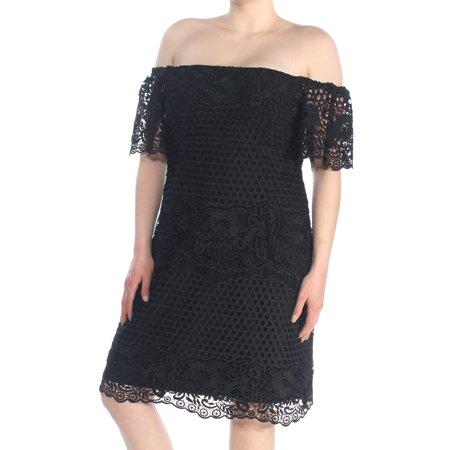 RALPH LAUREN Womens Black Off The Shoulder Eyelet Short Sleeve Off Shoulder Knee Length Sheath Party Dress  Size: 18](Ralph Lauren Halloween Party)