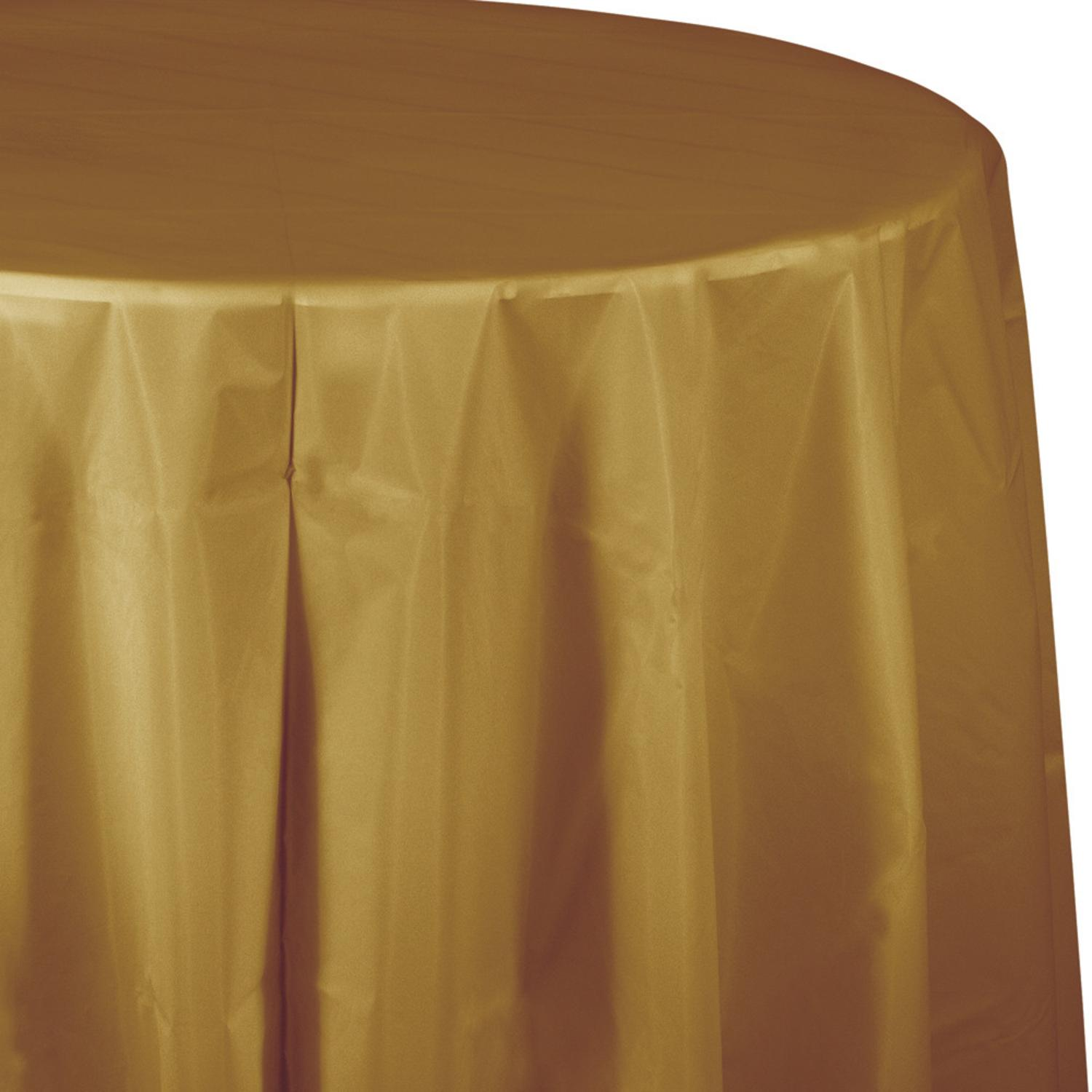 """Club Pack of 12 Glittering Gold Disposable Plastic Octy-Round Picnic Party Table Covers 82"""""""