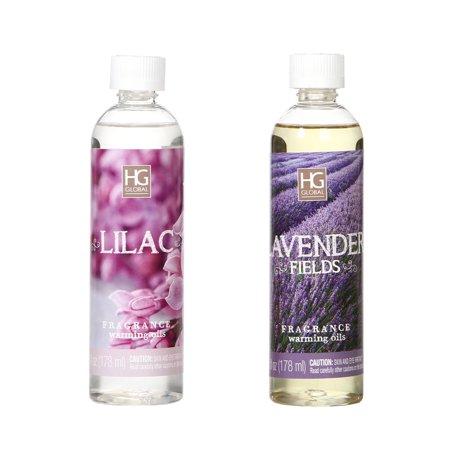 Hosley Set of 2, Lavender Fields and Lilac Fragrance Warming Oils- 6oz. Ideal Gift for Weddings, spa, Reiki, Meditation, Bathroom Settings. (Lorac Oil)