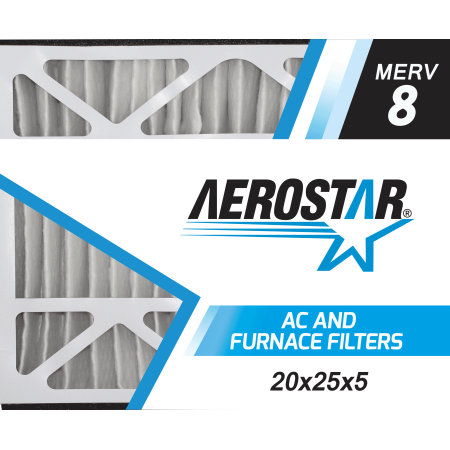 20x25x5 Trion Air Bear Replacement Furnace Air Filters by Aerostar - Merv 8, Box of 2 (Lennox Furnace Filters 20x25x5)