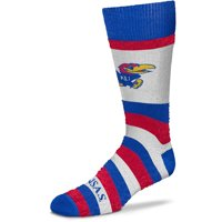 Kansas Jayhawks For Bare Feet Women's Pro Stripe Crew Socks - M