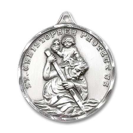 St  Christopher Medal Pendant In Sterling Silver By Bliss Mfg  St  Christopher Is Known As The Patron Saint Of Motorists  Travelers