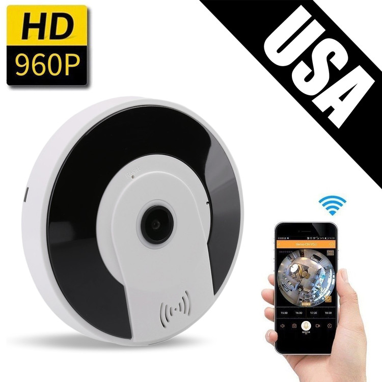 960P WiFi IP Security Home Network Dome Camera For Home Surveillance, Fisheye 360° Indoor Dome With Night Vision Motion Detection 2-Way talking