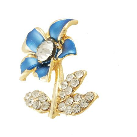 Women Rhinestone Decor Royal Blue Floral  Pin Brooch