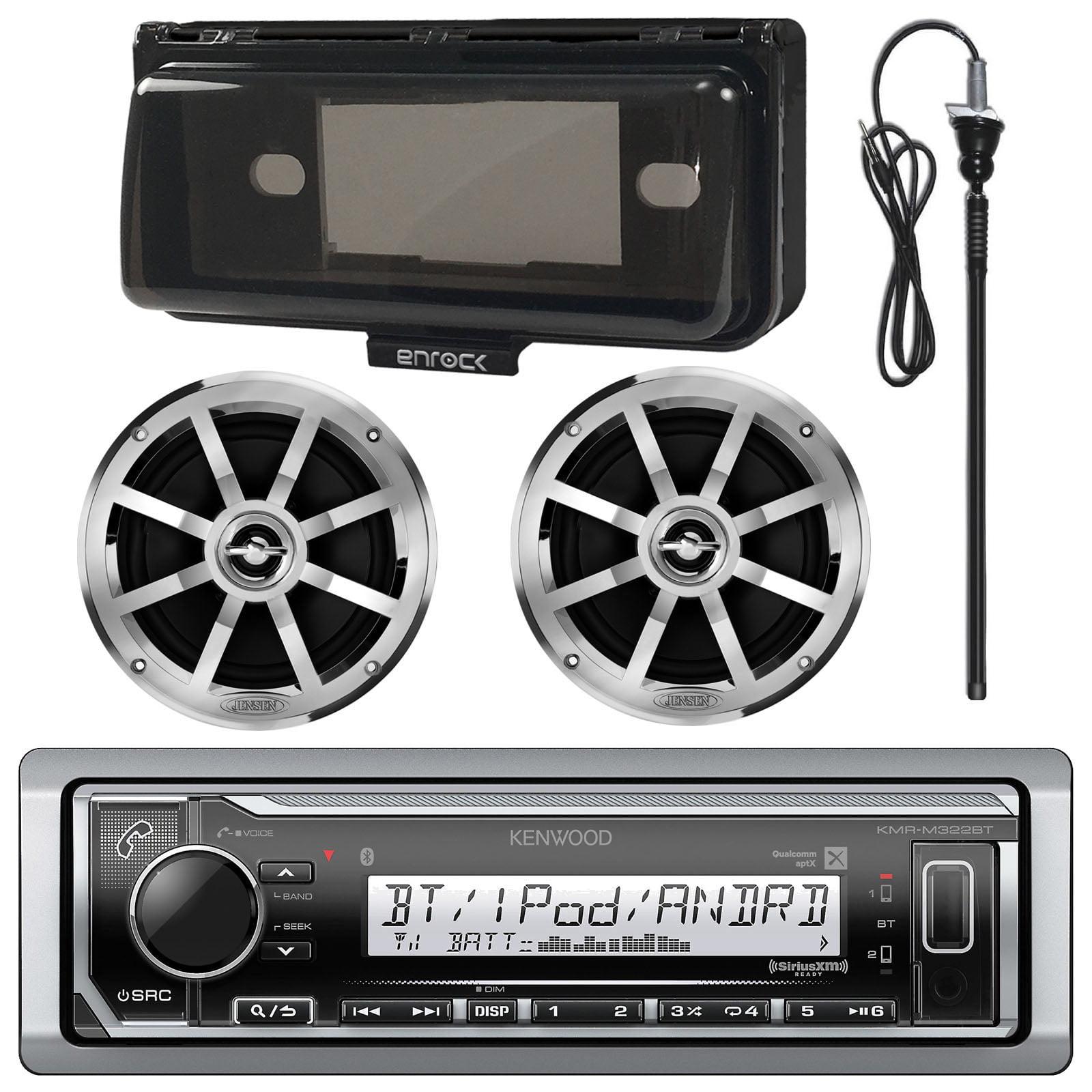 "Kenwood Marine Digital Media Bluetooth Receiver, 2x Jensen Boat 6.5"" Silver Speaker - Single, Enrock Marine Single Din Radio Dash Protector (Black), Enrock AM/FM Antenna (Black)"