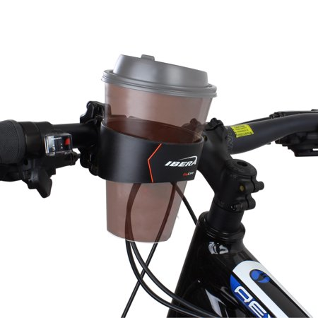 Ibera Bike Handlebar Cup Holder, Black with Multi-Way Mount