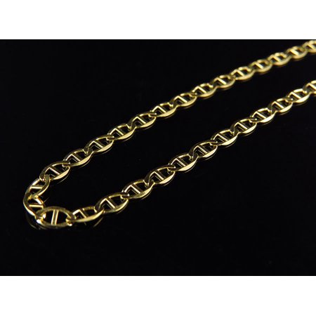 Men's 10K Solid Yellow Gold Flat Mariner Link Style Chain 3 MM 16-26 Inches