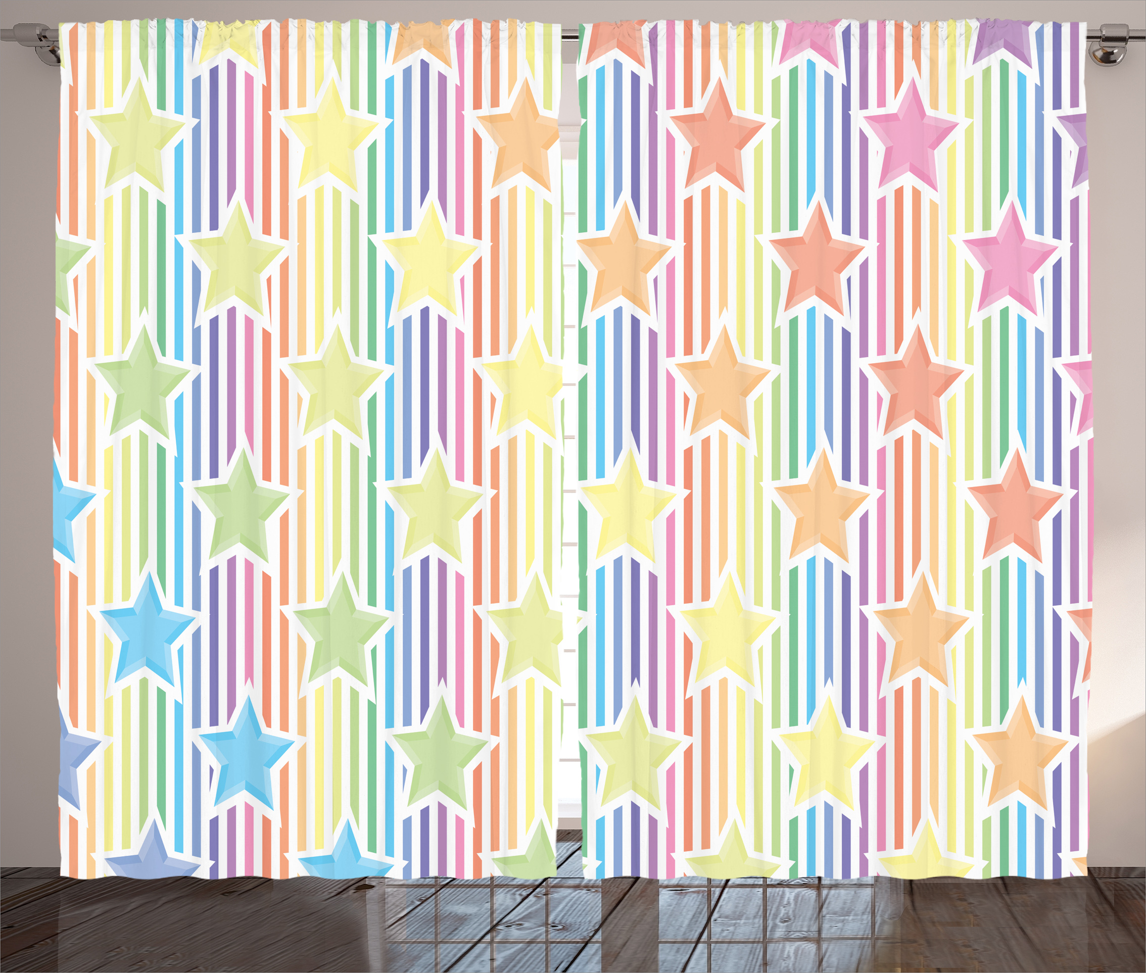 Remarkable House Decor Curtains 2 Panels Set Rainbow Stars On Colorful Striped Fun Art Abstract Teen Room Playroom Concept Window Drapes For Living Room Download Free Architecture Designs Ogrambritishbridgeorg