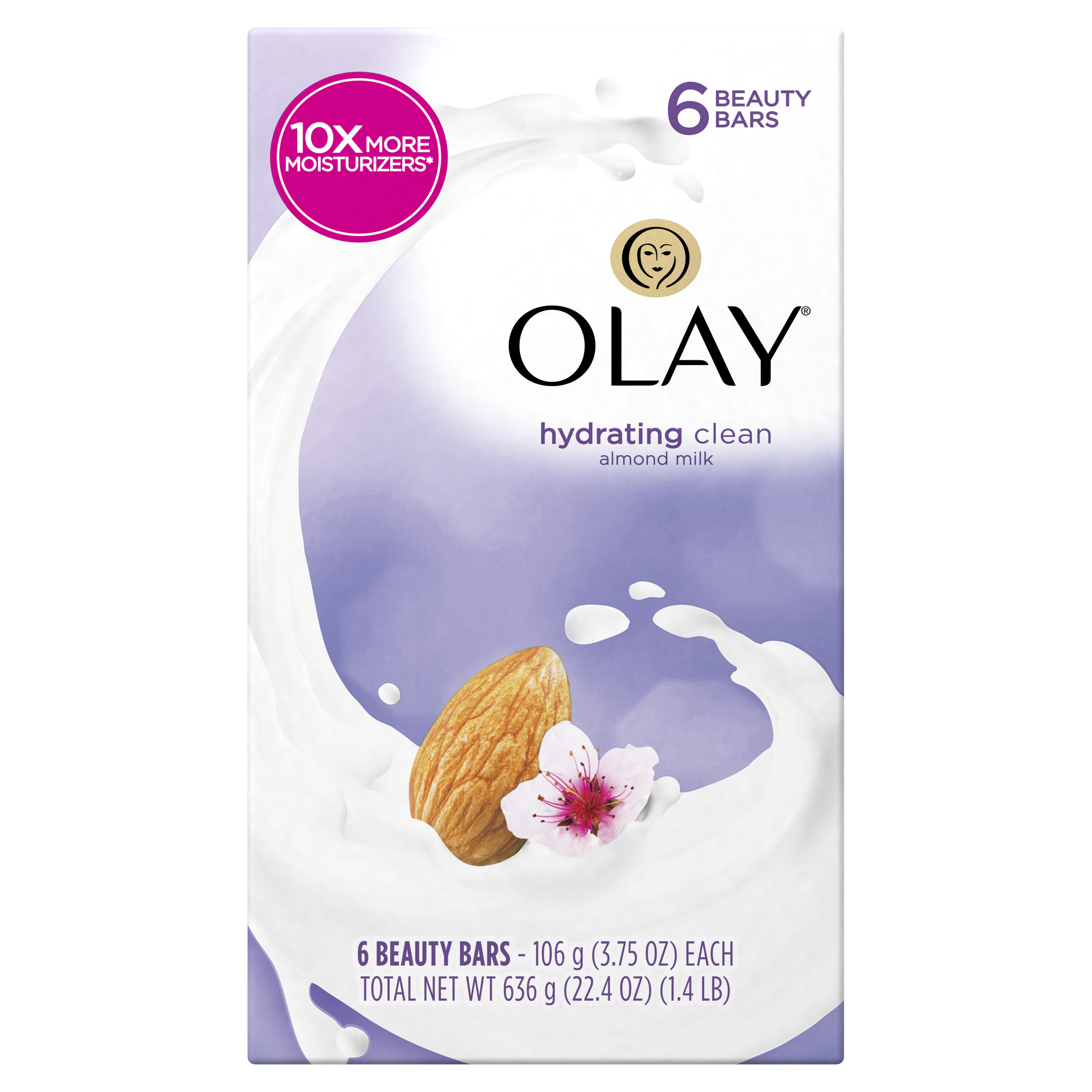 Olay Hydrating Clean Beauty Bars, Almond Milk 3.75 oz, 6 Count