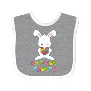 My First Easter Baby Bib Heather/White One Size