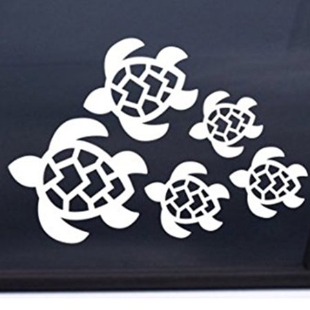 Turtle Family Vinyl Cut Decal With No Background | 7 X 5 Inch White Decal | Car Truck Van Wall Laptop Cup ()