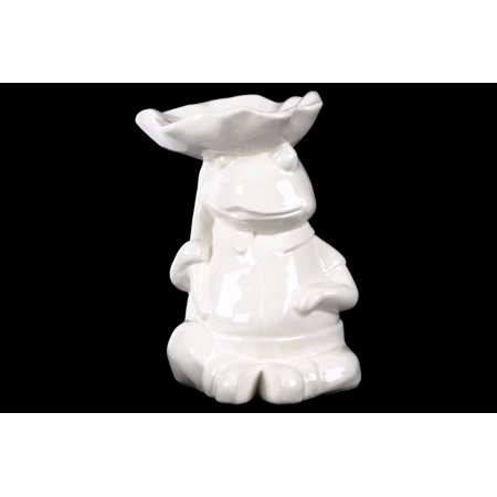 Sitting Frog Figurine With A Leaf Carried Over Head   White   Benzara