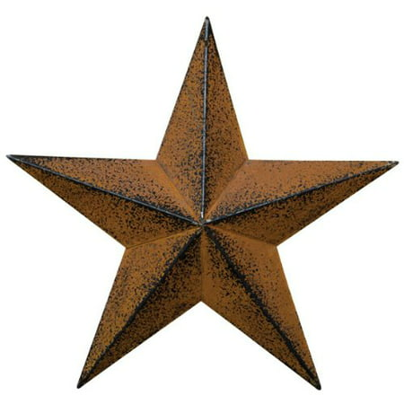 Large Dimensional Primitive Rustic Steel Metal Barn Star Hanger, 24-inch, Rust/Black, Measures 24 wide (tip to tip), 4 deep (inches) By Home Collection From