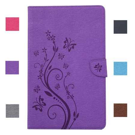 Dteck For Samsung Galaxy Tab A 8.0 / T350 / T355 Stylish Butterfly Flower PU Leather Card Slots Case Flip Stand Cover - Purple (Samsung Galaxy Tab 3 Flip Case)