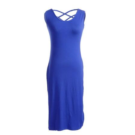 S/M Fit Blue Criss Cross Straps Back Tank Style Narrow Shape Dress