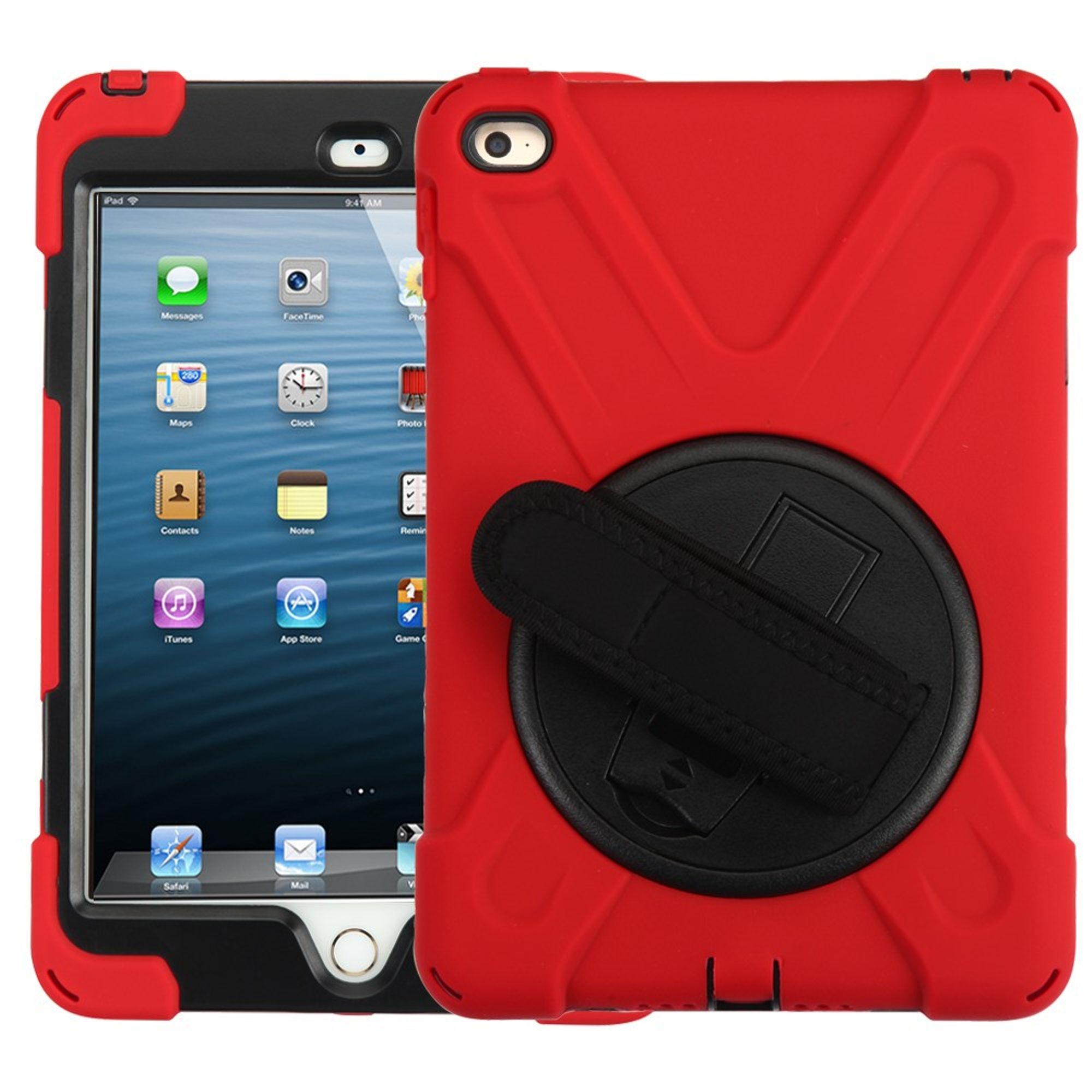 MyBat Rotatable Stand Hard Hybrid Plastic TPU Cover Case w/stand For Apple iPad Mini 4 - Red/Black