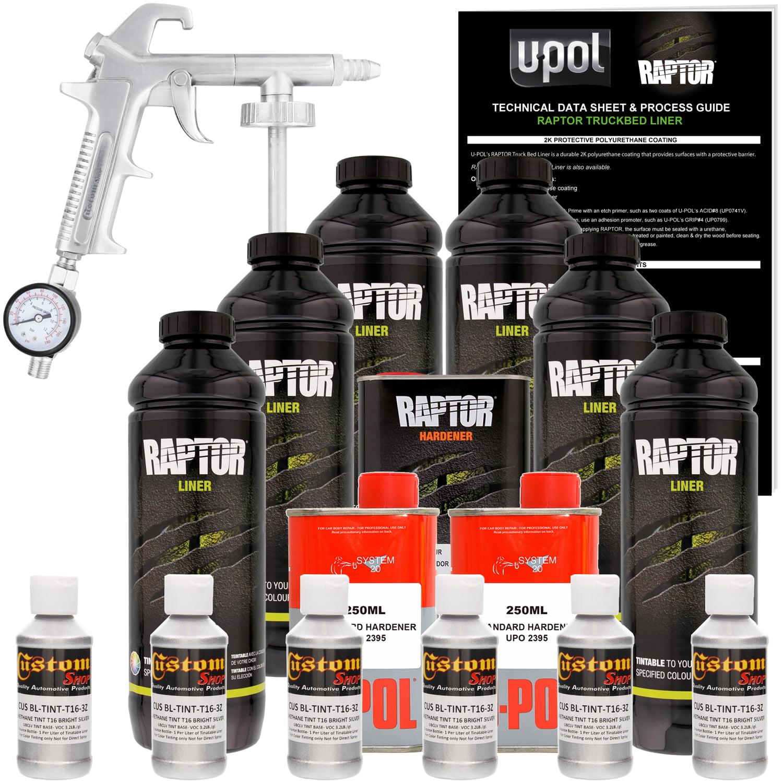U-POL Raptor Bright Silver Urethane Spray-On Truck Bed Liner Kit w/ FREE Custom Coat Spray Gun with Regulator, 6 Liters