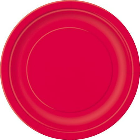 Gold Octagon Plastic Plates - Paper Plates, 9 in, Red, 50ct
