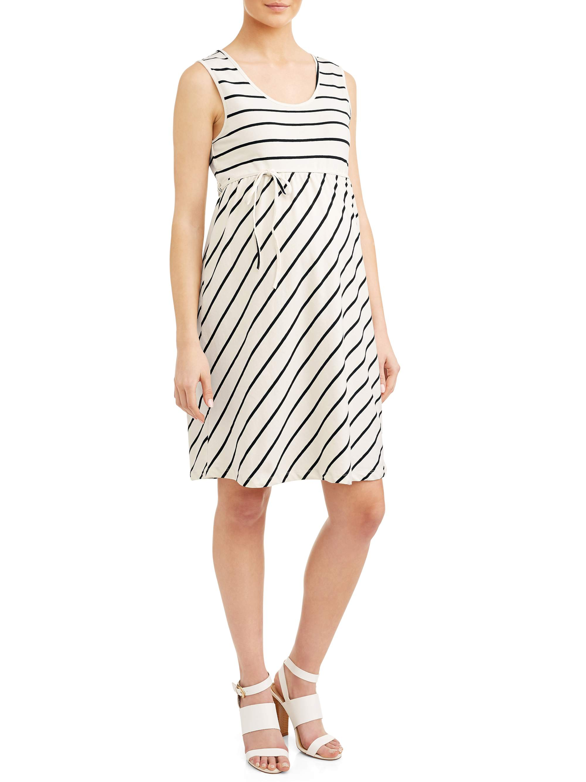 Maternity Stripe Empire Waist Knit Dress - Available in Plus Sizes