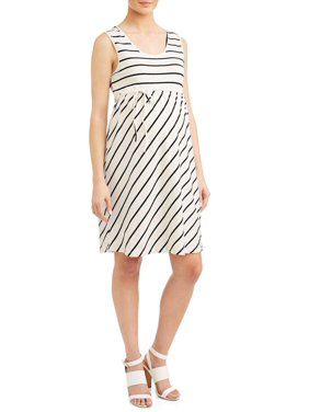 Oh! Mamma Maternity stripe empire waist knit dress - available in plus sizes