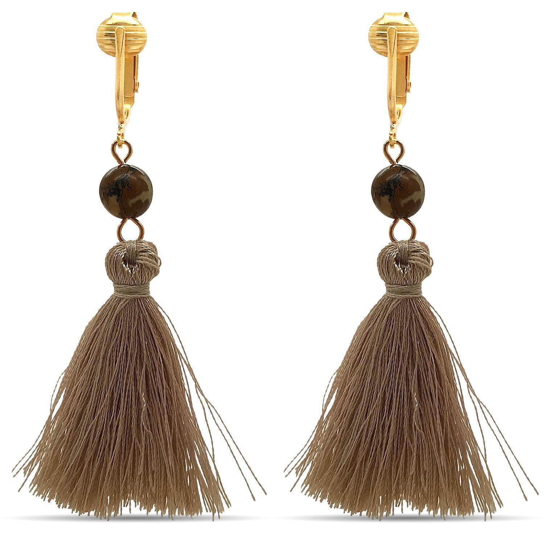 Aloha Earrings-Clip On Tassel Earrings-Dangle Clip On Earrings Silk Tassel Long Clip Earrings Bohemian