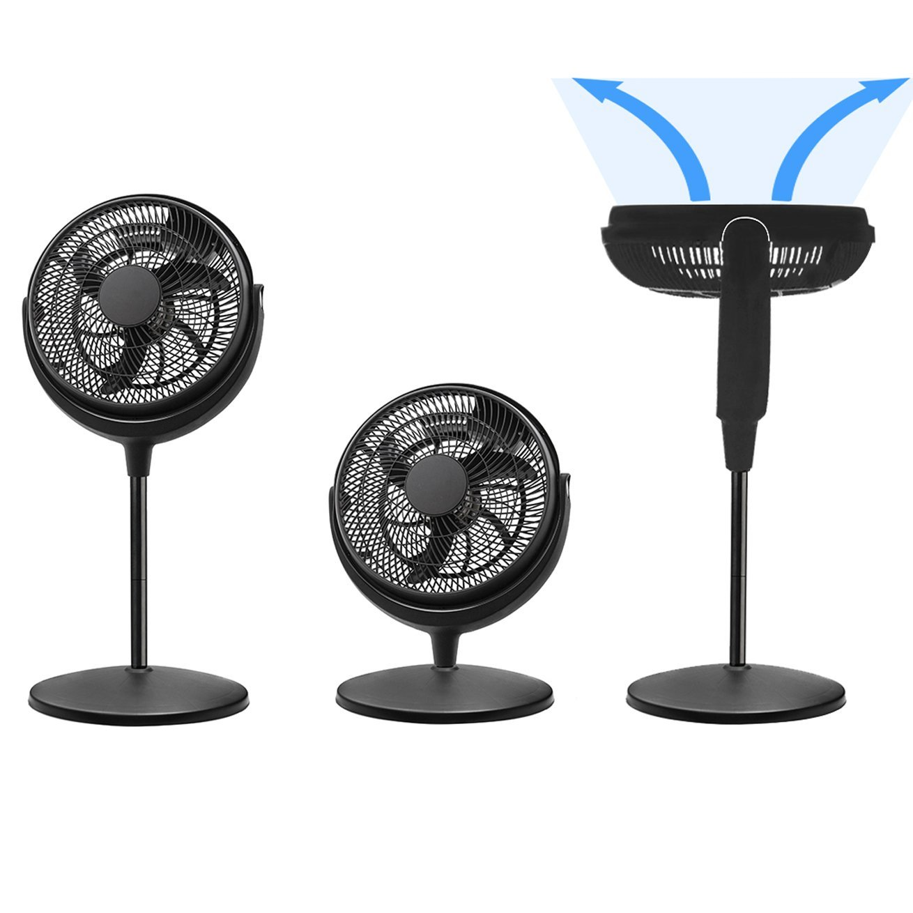 High Velocity Air Circulator and Fan 12 inch Adjustable Head 3 Speeds Air Flow - Smart & Energy Efficient