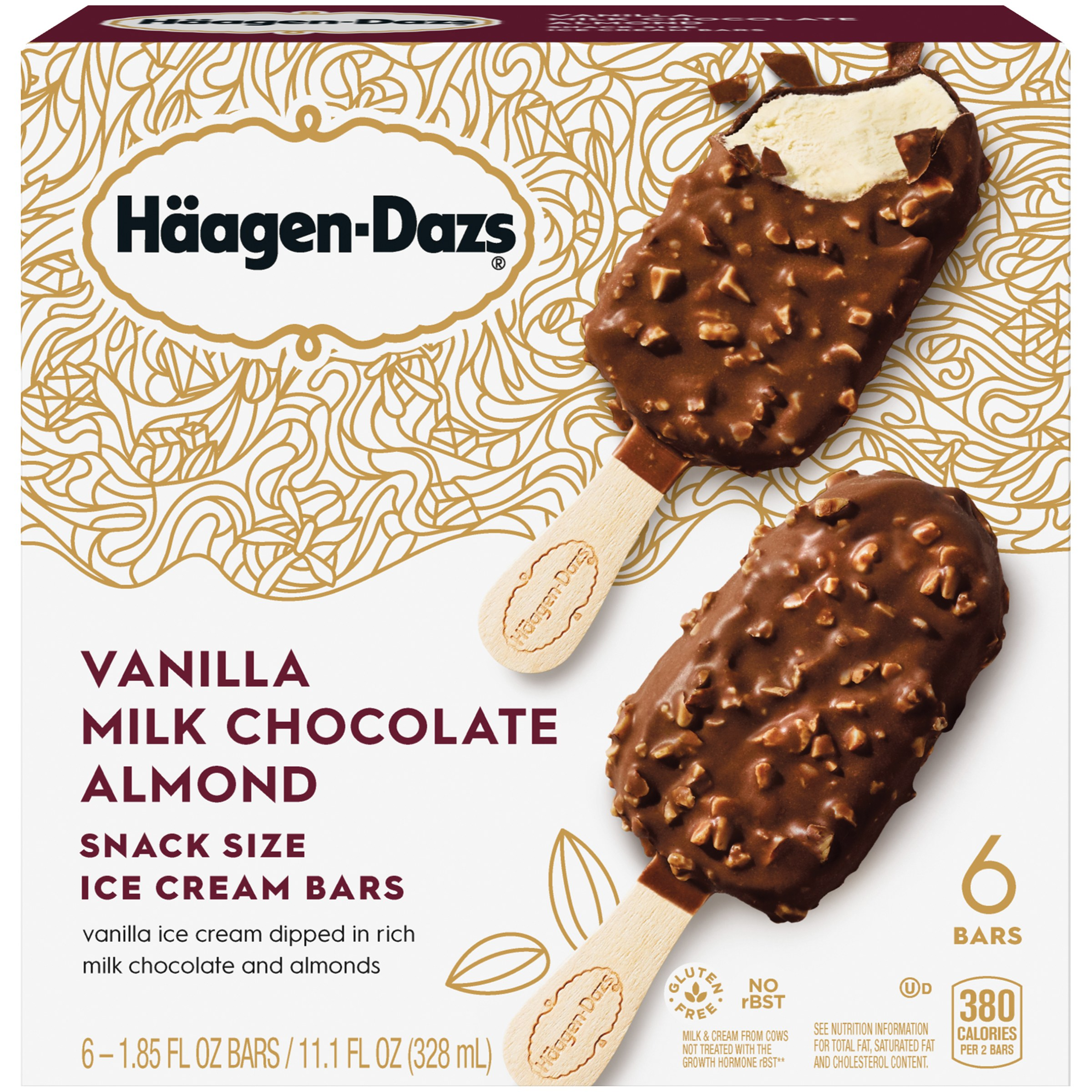haagendazs vanilla milk chocolate almond snack size ice cream bars ct box