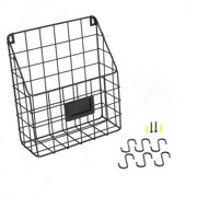 Wall Mounted Multipurpose Mail Organizer Wire Basket with S Hooks Magazine Holder Coat Rack Foyer Storage with Key Hooks for Kitchen Entryway and Garage Black