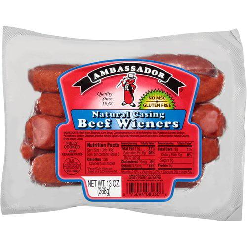 Ambassador Natural Casing Beef Wieners, 13 oz